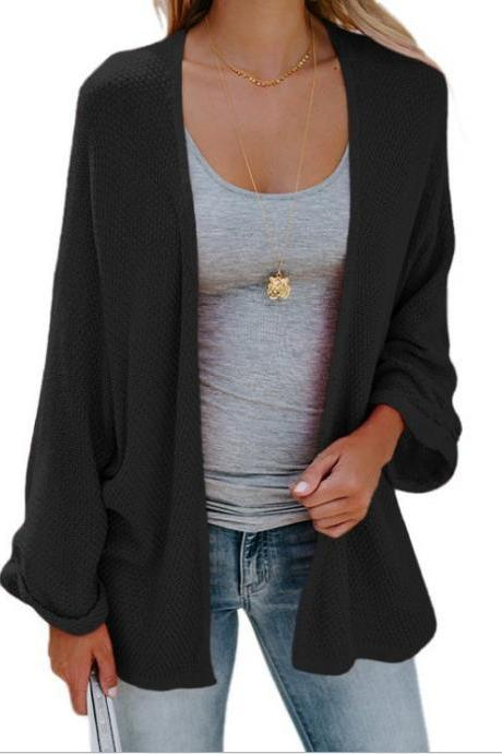 Women Knitted Cardigan Autumn Long Sleeve Solid Color Casual Loose Sweater Coat Jacket black
