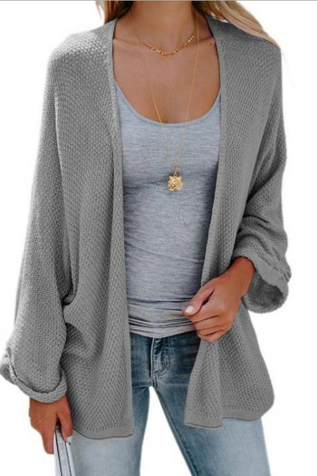 Women Knitted Cardigan Autumn Long Sleeve Solid Color Casual Loose Sweater Coat Jacket gray