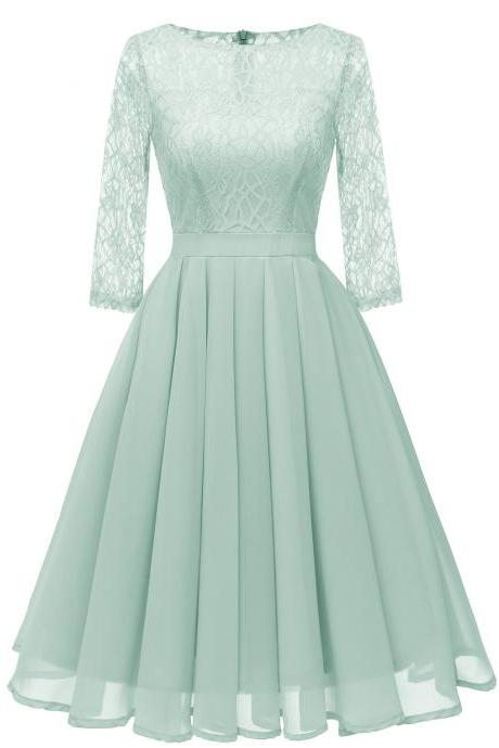 Women Casual Lace Patchwork Dress 3/4 Sleeve Work Office Slim A Line Bridesmaid Party Dress pale green