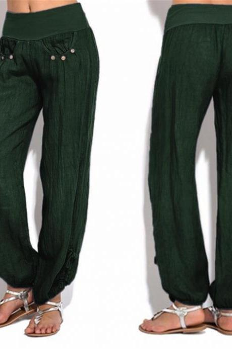 Women Casual Loose Harem Pants Button Low Waist Palazzo Plus Size Wide Leg Trousers green