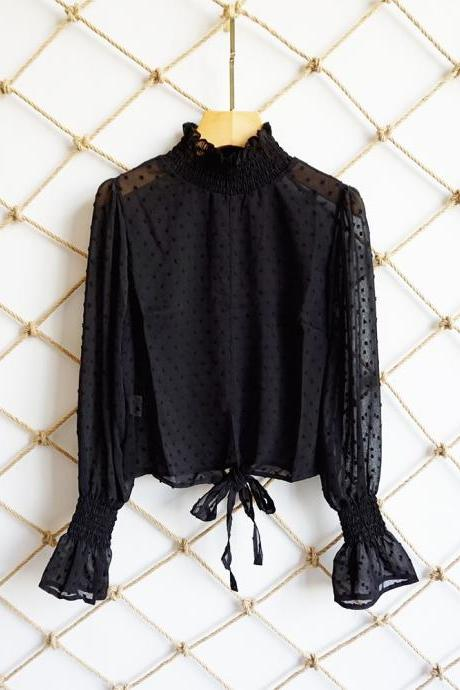 Women Floral Printed Crop Tops Transparent Casual Chiffon Lace Up Long Flare Sleeve Sheer Short Blouse black
