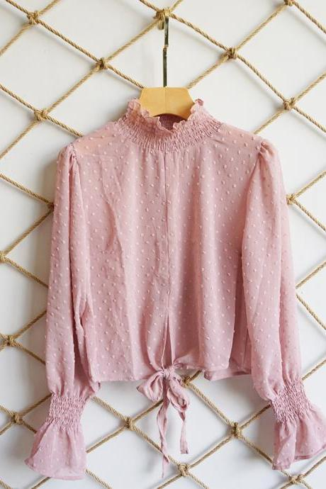 Women Floral Printed Crop Tops Transparent Casual Chiffon Lace Up Long Flare Sleeve Sheer Short Blouse pink