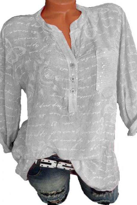 Women Butterfly Printed Blouse V Neck Button Half Sleeve Casual Loose Tops Shirt gray