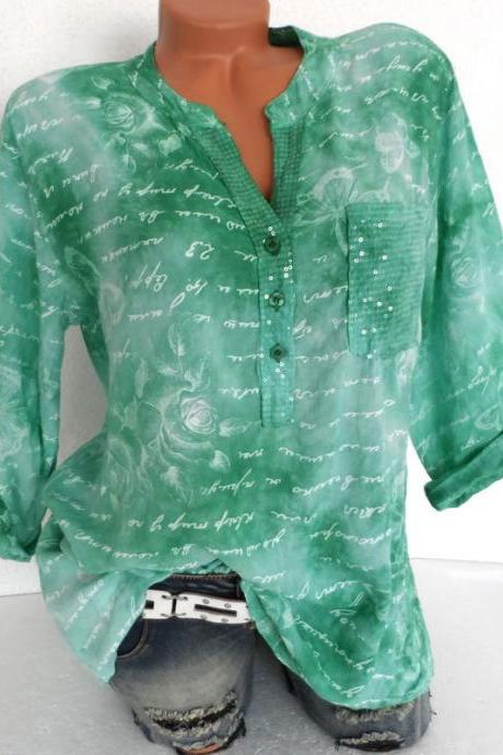 Women Butterfly Printed Blouse V Neck Button Half Sleeve Casual Loose Tops Shirt green