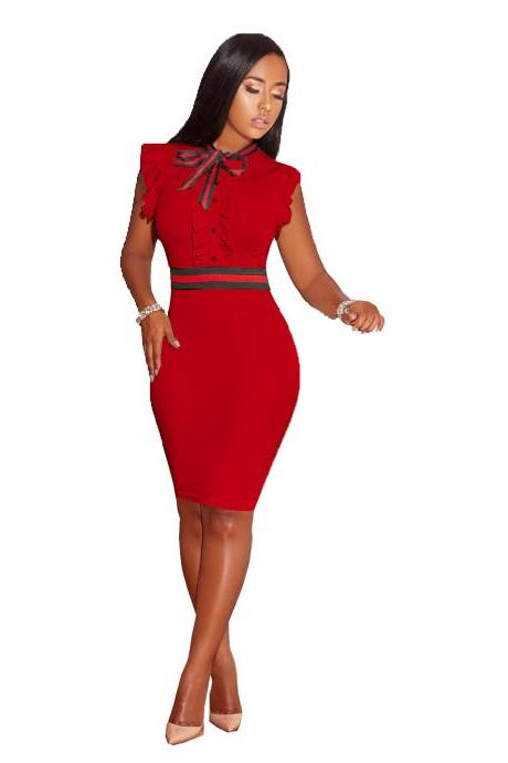 Women Sexy Bodycon Pencil Dress Pearl Bow Tie Ruffles Sleeveless Slim Club Party Dress red