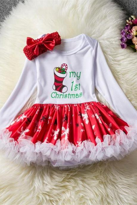 Toddler Kids Baby Girls Dress Long Sleeve Santa Claus Children Ball Gown Party Birthday Christmas Clothes 1#