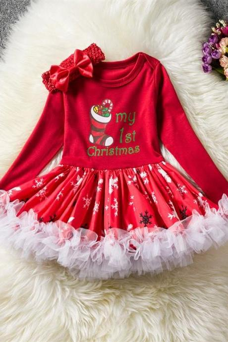 Toddler Kids Baby Girls Dress Long Sleeve Santa Claus Children Ball Gown Party Birthday Christmas Clothes 2#