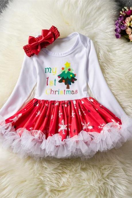 Toddler Kids Baby Girls Dress Long Sleeve Santa Claus Children Ball Gown Party Birthday Christmas Clothes 3#
