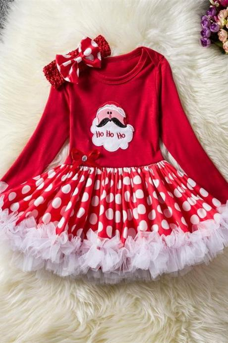 Toddler Kids Baby Girls Dress Long Sleeve Santa Claus Children Ball Gown Party Birthday Christmas Clothes 5#