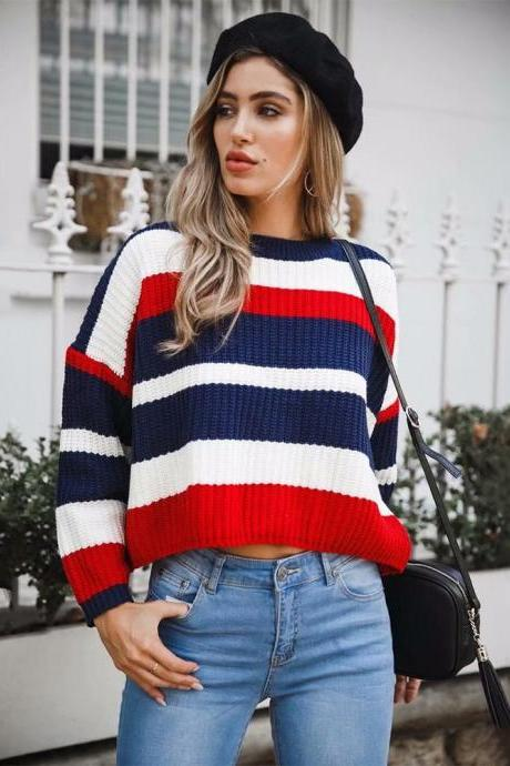 Women Knitted Sweater Autumn Winter Long Sleeve Casual Loose Striped Patchwork Pullover Tops red
