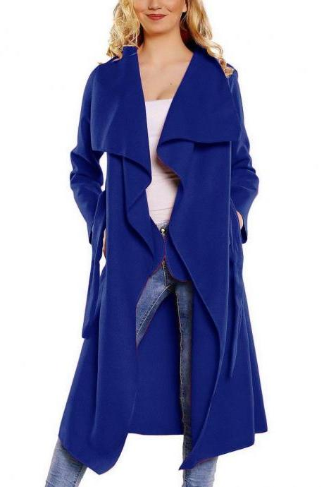 Women Wool Blend Trench Coat Autumn Winter Lapel Casual Long Sleeve Loose Cardigan Jacket Outerwear blue