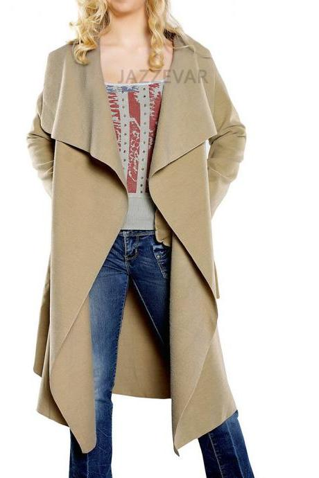 Women Wool Blend Trench Coat Autumn Winter Lapel Casual Long Sleeve Loose Cardigan Jacket Outerwear camel