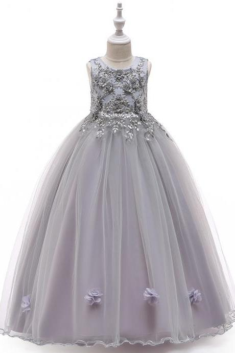 Long Flower Girl Dress Beaded Embroidery Princess Teens Formal Birthday Party Gowns Children Clothes gray