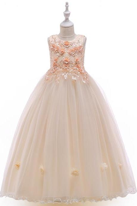 Long Flower Girl Dress Beaded Embroidery Princess Teens Formal Birthday Party Gowns Children Clothes champagne