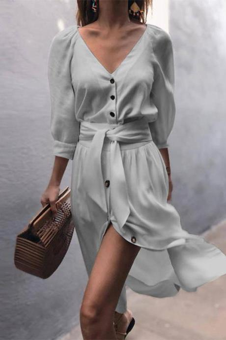 Women Casual Shirt Dress Autumn V Neck Half Sleeve Button Bow Tie Belted Front Splited Midi Dress gray