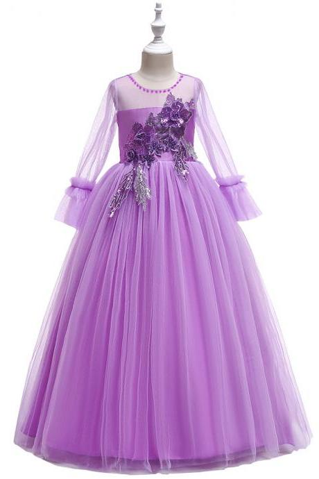 Long Sleeve Flower Girl Dress Princess Teens Formal Birthdat Party Tutu Gown Children Clothes lilac