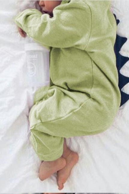 Newborn Infant Baby Boy Girl Dinosaur Hooded Romper Jumpsuit Long Sleeve Autumn Kids Outfits Clothes green