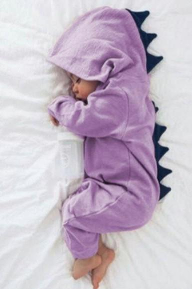 Newborn Infant Baby Boy Girl Dinosaur Hooded Romper Jumpsuit Long Sleeve Autumn Kids Outfits Clothes lilac