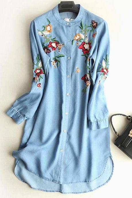 Women Floral Embroidery Denim Dress Long Sleeve Button Loose Asymmetrical Short Casual Dress light blue