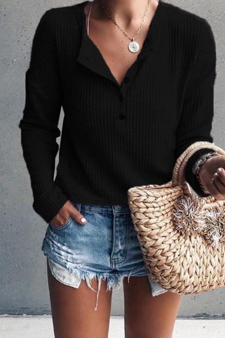 Women Pullover Tops Autumn Winter V-Neck Button Long Sleeve Casual Slim Knitted Sweater black
