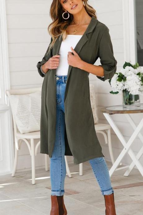 Women Trench Coat Autumn Turn down Collar Long Sleeve Side Split Belted Casual Long Jacket Outerwear army green
