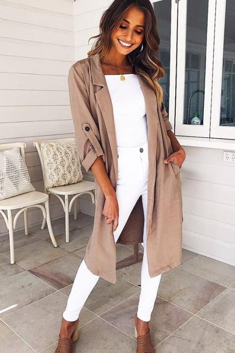 Women Trench Coat Autumn Turn down Collar Long Sleeve Side Split Belted Casual Long Jacket Outerwear khaki