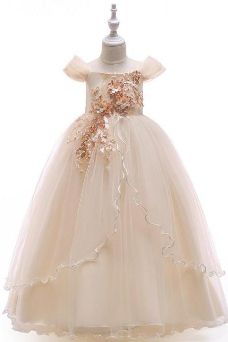 Long Flower Girl Dress Off the Shoulder Teens Formal Party Birthday Tutu Stage Gowns Children Clothes champagne