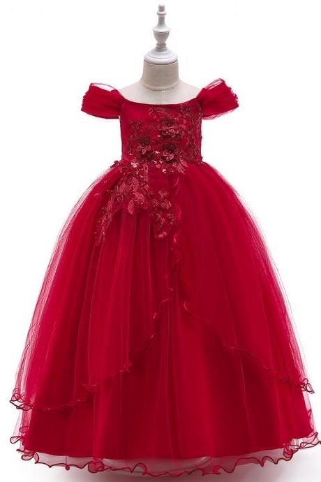 Long Flower Girl Dress Off the Shoulder Teens Formal Party Birthday Tutu Stage Gowns Children Clothes crimson
