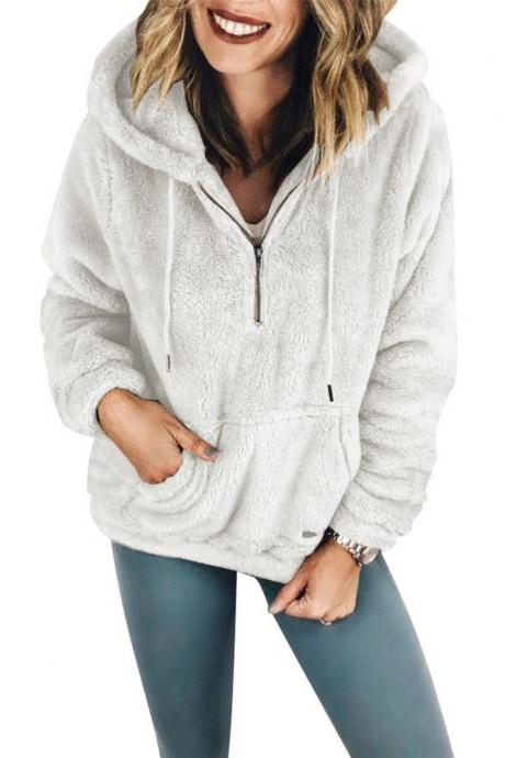 Women Hoodies Winter Plush Warm Hooded Sweatshirt Pocket Long Sleeve Casual Loose Pullover Tops off white