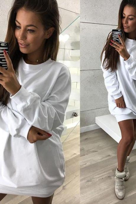 Women Sweatshirt Dress O-Neck Casual Loose Oversized Autumn Long Sleeve Hoodie Pullover Mini Dress off white