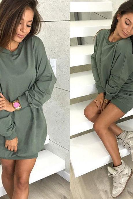 Women Sweatshirt Dress O-Neck Casual Loose Oversized Autumn Long Sleeve Hoodie Pullover Mini Dress army green