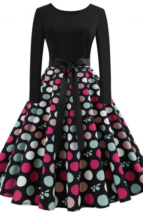 Vintage Floral Printed Dress Autumn Long Sleeve Belted Rockabilly Casual Slim A-Line Formal Party Dress 4#