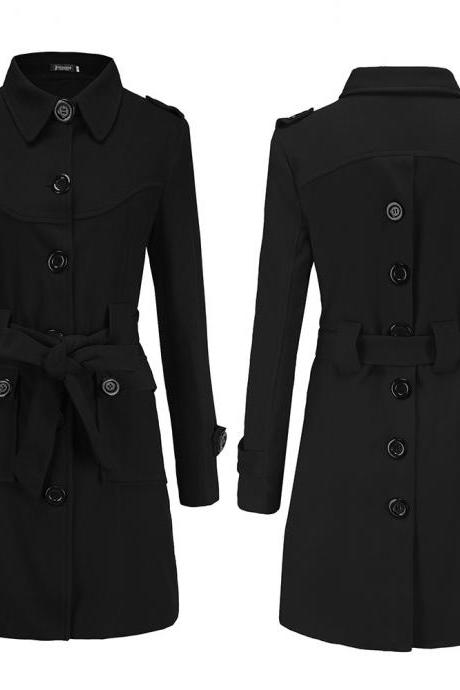 Women Woolen Blend Coat Autumn Winter Single Breasted Back Split Belted Slim Warm Jacket Outerwear black