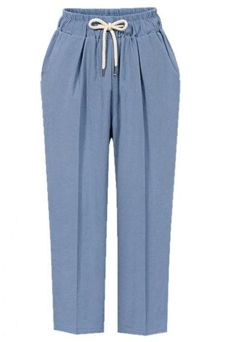 Women Harem Pants Autumn Drawstring High Waist Ankle Length Plus Size Casual Loose Trousers light blue