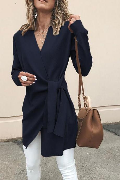 Women Slim Coat Autumn V Neck Casual Lace Up Tie Waist Long Sleeve Jacket Outwear navy blue