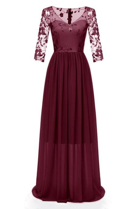 Embroidery Lace Women Maxi Dress V Neck 3/4 Sleeve Slim Chiffon Long Bridesmaid Party Dress burgundy