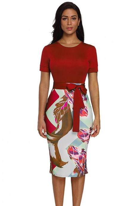 Women Floral Printed Pencil Dress Short Sleeve Belted Casual Slim Bodycon Work Office Party Dress red