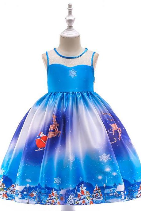 Fashion Christmas Girl Dress Santa Snowflake Printed Princess Cartoon Party Gown Children Clothes1#