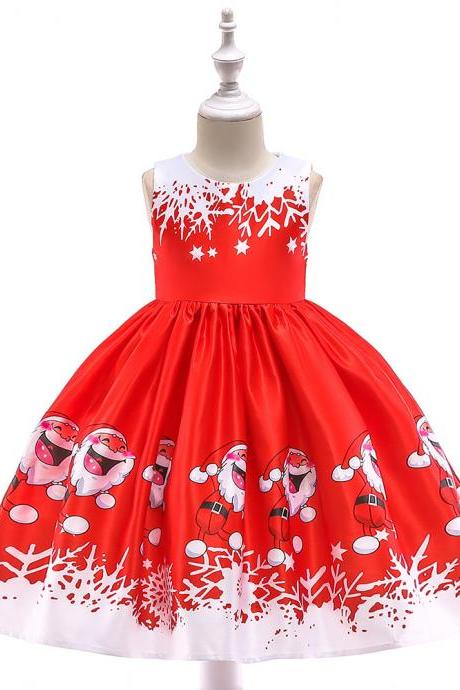Fashion Christmas Girl Dress Santa Snowflake Printed Princess Cartoon Party Gown Children Clothes 2#