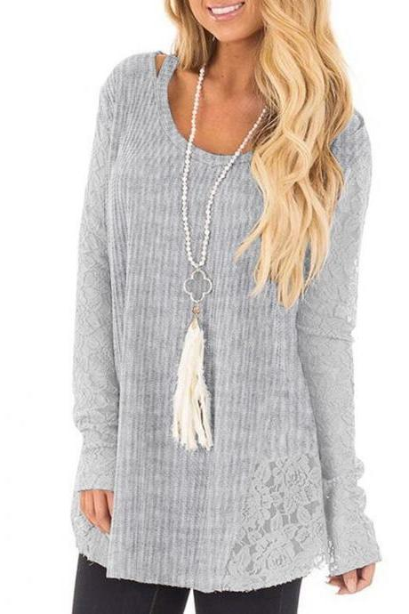 Women Lace Patchwork Sweater Autumn Casual Long Sleeve Plus Size Loose Pullover Tops gray