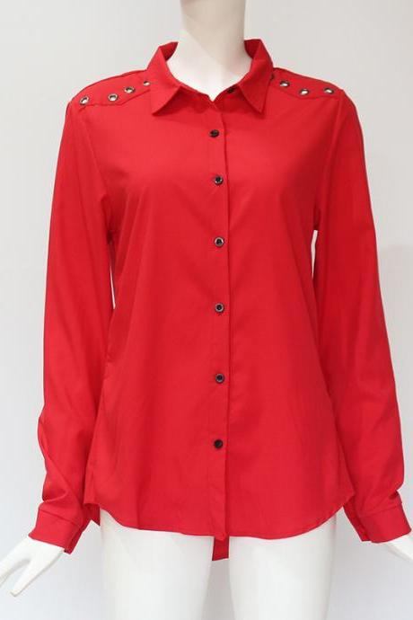 Women Blouse Autumn Turn Down Collar Solid Button OL Office Long Sleeve Casual Tops Shirt red