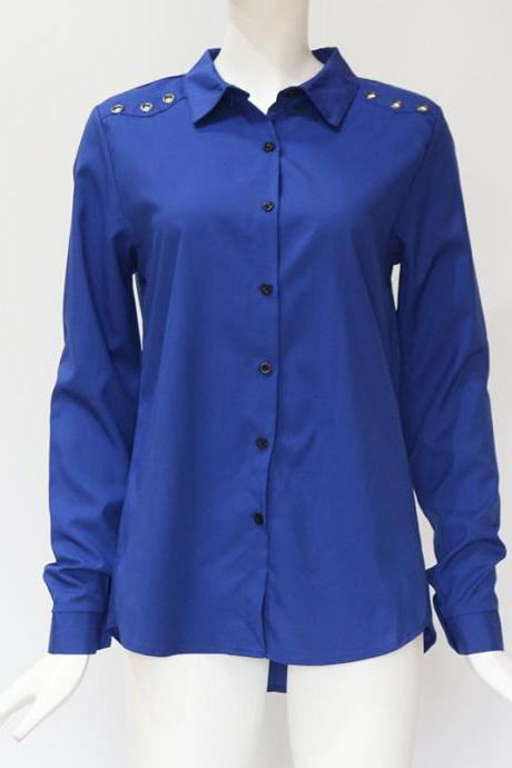 Women Blouse Autumn Turn Down Collar Solid Button OL Office Long Sleeve Casual Tops Shirt royal blue