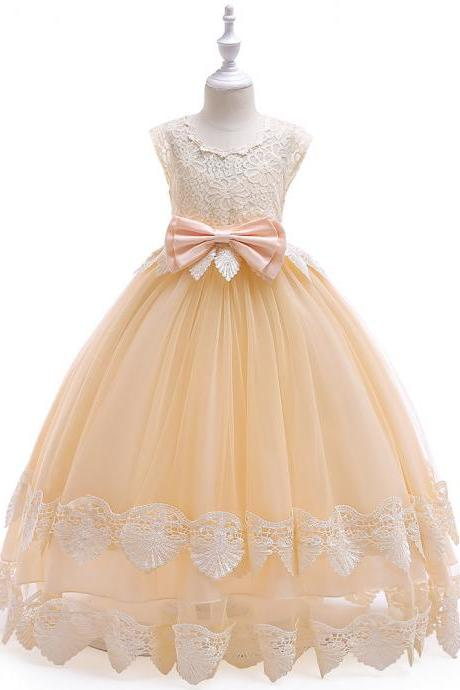 Long Flower Girl Dress Princess Lace Bow Teens Wedding Formal Party Tutu Gown Children Clothes champagne