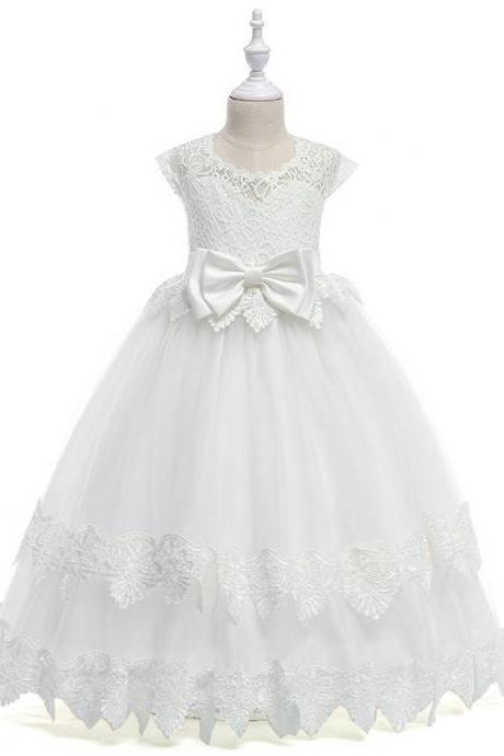 Long Flower Girl Dress Princess Lace Bow Teens Wedding Formal Party Tutu Gown Children Clothes off white
