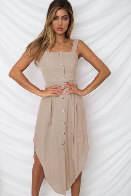 Women Asymmetrical Dress Spaghetti Strap Sleeveless Summer Casual Button Boho Holiday Beach Sundress khaki