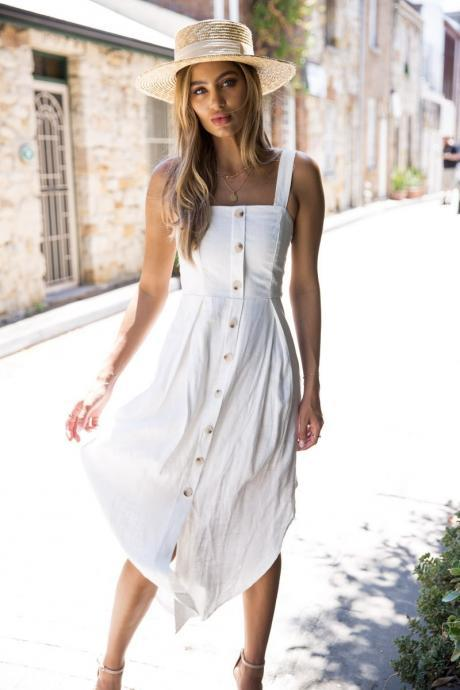 Women Asymmetrical Dress Spaghetti Strap Sleeveless Summer Casual Button Boho Holiday Beach Sundress off white