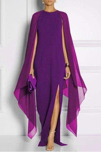 Women DressChiffon Maxi Dress, Batwing Sleeve Dress,Side Split Dress,Casual Dress,Slim Dress,Long Dress,Evening Dress,Party Gown purple