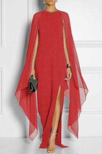 Women Chiffon Maxi Dress Batwing Sleeve Side Split Casual Slim Long Evening Party Gown red