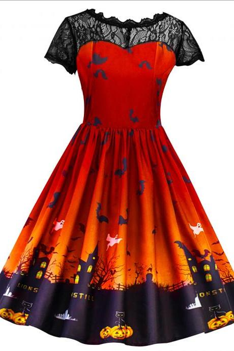 Women Printed A Line Dress Vintage Lace Short Sleeve Swing Evening Party Halloween Costume orange