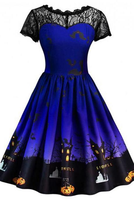 Women Printed A Line Dress Vintage Lace Short Sleeve Swing Evening Party Halloween Costume royal blue